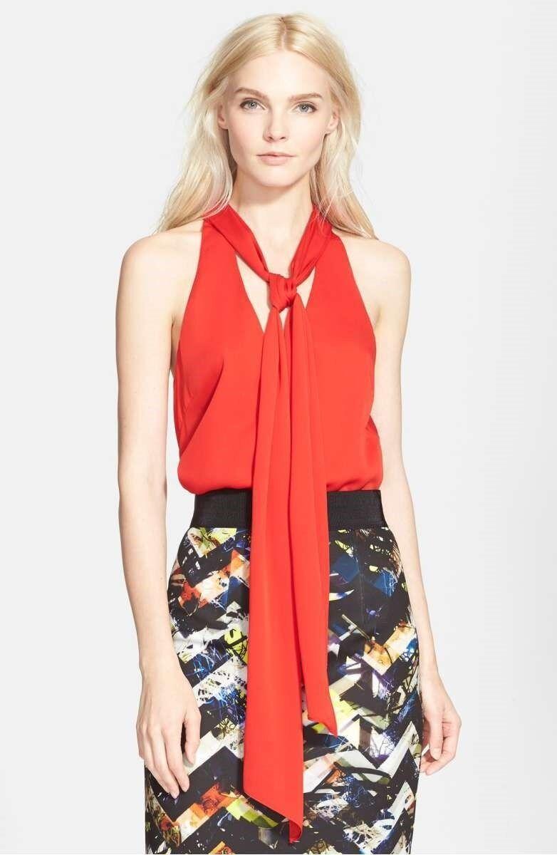 NWT, Woherren Milly Scarf Detail Stretch Silk Halter Top 2, Poppy rot