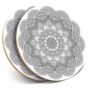 2 x Coasters bw - Indian Mandala Boho Yoga  #37935