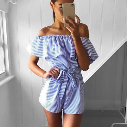 Damen Rüschen Kurz Playsuit Jumpsuit Overall Romper Hose Minikleid Party Sommer