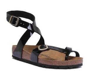 beaf7613f94 Birkenstock Yara Bf Womens Black Patent Birko Flor Sandal Size UK 3 ...