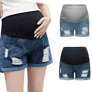 Women-Pregnant-Summer-Casual-Jeans-Maternity-Solid-Denim-Shorts-Prop-Belly-Pants
