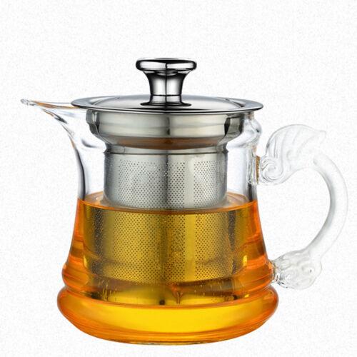 Heat Resistant Glass Tea Pot with Filter Kung Fu Tea Set Teapot Kettle 14oz