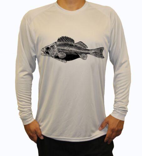 Fish Skeleton Long Sleeve UPF 30 T-Shirt Fishing Boat Beach Sport UV Protection