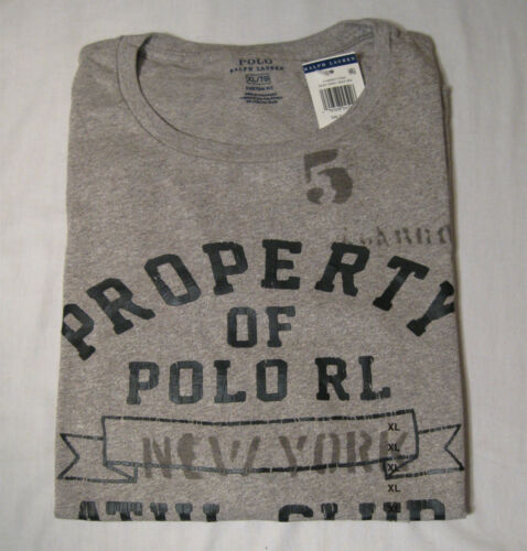Polo Ralph Lauren Crew Neck Short Sleeve Graphic Tshirt NWT XL Gray