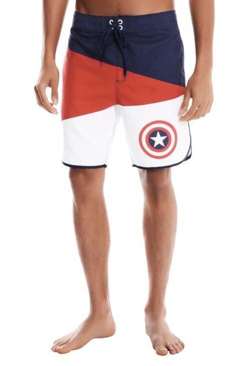 5c752fb0c4 MARVEL MEN'S SWIM Suit TRUNKS SHORTS 30 NEW NWT AMERICA CAPTAIN  nzdjxp1336-Swimwear