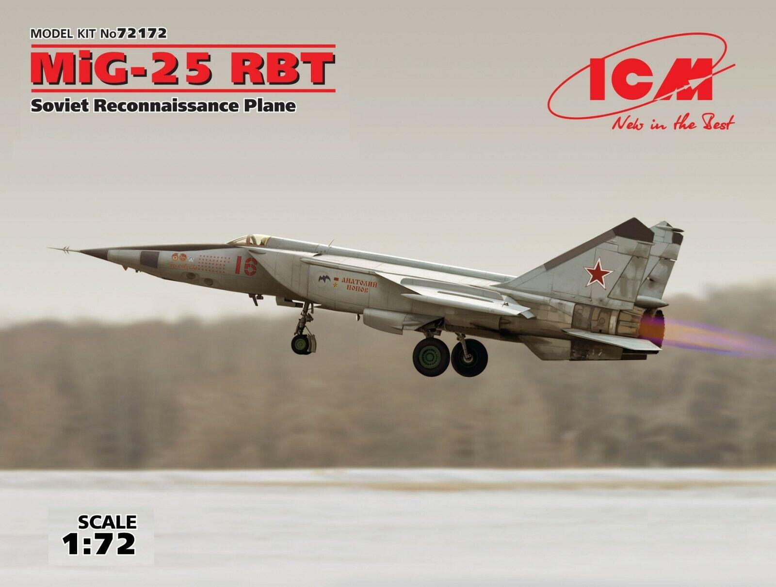 ICM 72172 MiG-25 RBT, Soviet Reconnaissance Plane 1 72 plastic model kit 298 mm