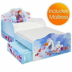 Disney-Frozen-2-Toddler-Bed-with-Storage-Plus-Deluxe-Foam-Mattress-Kids-Bedroom