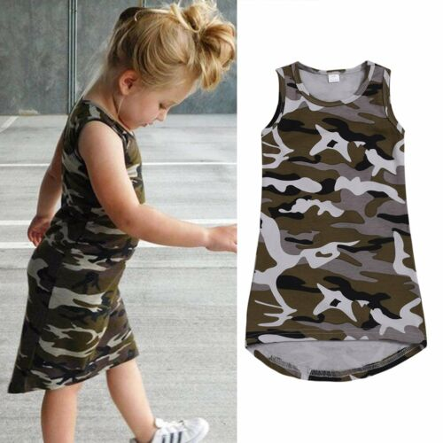 Summer Toddler Kids Baby Girl Camouflage Casual Party Pageant Princess Dresses