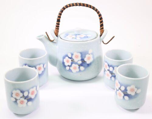 "6/"" Blue Flower Rattan Japanese Ceramic Tetsubin Teapot /& Teacups Infuser Tea Set"