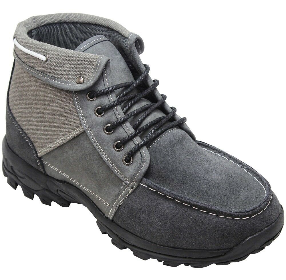 CALTO H224312 - 3.3 Inches Elevator Height Increase Grey Moc-Toe Ankle Top Boots