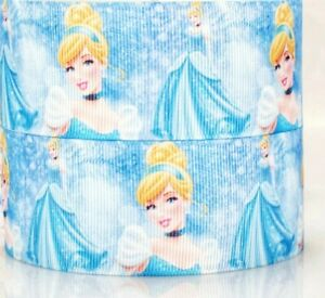 "1/"" 2 YARDS Cinderella Princess Grosgrain Ribbon  Cards DIY Crafts Hair Bows"