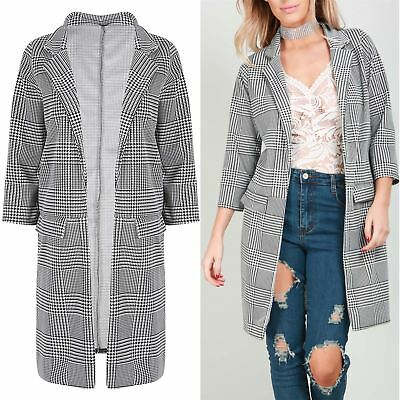 New Womens Ladies Cardigan Collared Longline Houndstooth DogTooth Duster Blazer