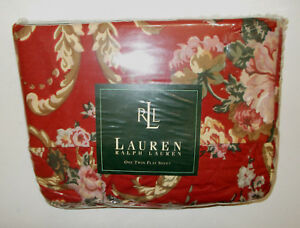 NEW-Ralph-Lauren-Danielle-Marseille-Red-Floral-Twin-Flat-Sheet-French-Country