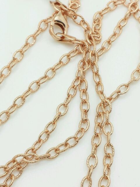 """14k Rose Gold Textured Oval Cable Link Pendant Necklace Chain 18"""" 2.5mm"""