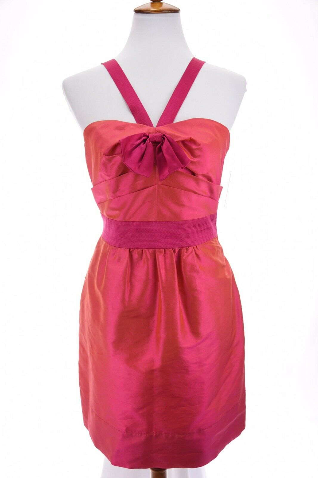 NWT Phoebe Couture Fit and Flare Silk Taffeta Dress Prom Iridescent Pink Sz 8
