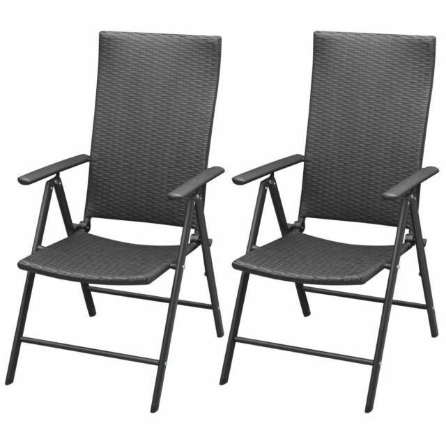 9f3953dd31ae vidaXL 2x Garden Chairs Poly Rattan Aluminium Black Outdoor Patio Seat  Folding