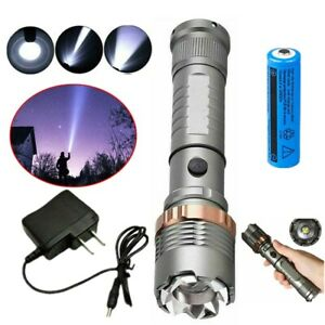 5 Modes T6 LED Flashlight Adjustable Camping Torch+Battery+