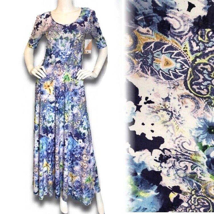 f7139bb6e3d504 NWT Piphany & long Blau printed maxi summer dress S Lace Honey ...