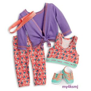 american girl 2018 purple cheer practice outfit set tank doll not