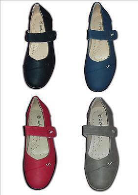 Zapatos señoras Comodidad Cuña Vel amplia Fit Negro Azul Beige Rojo 3013 Tamaños 3-8