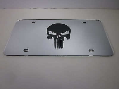 Punisher Chrome Mirror License Plate Auto Tag nice