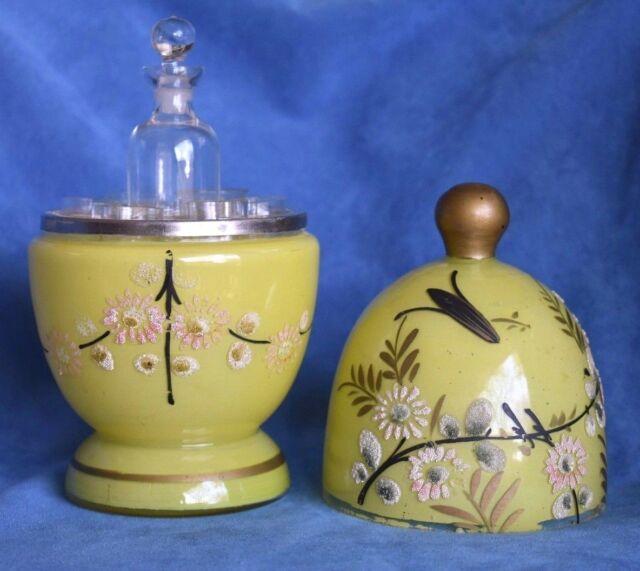 Antique Czechoslovakia Signed Yellow Moriage Enamel Glass Absinthe Decanter Set