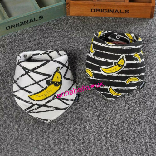 Baby Bibs Banana Yellow Black Bandana Girl Boy Cotton 2Ps Wrap Teething Feed UK