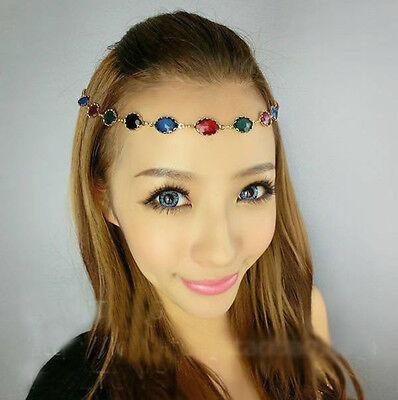 Women Multicolor Crystal Wedding Headdress Headband Head Band Chain Headpiece