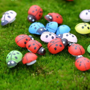 10pcs Mixed Color Ladybug Garden Ornament Scenery Craft ...