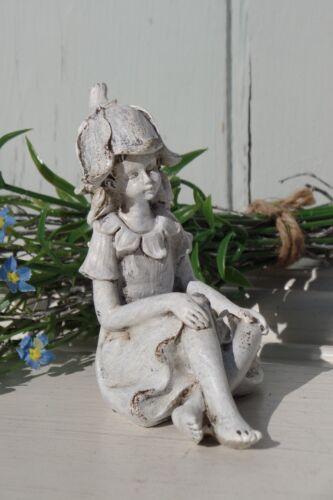 Vintage Blumenelfe Fee Mädchen 3 Modelle Shabby Weiß Antik Finish Deko Höhe 9,5