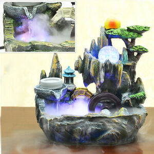 Table-Top-Fountain-Water-Feature-Mountain-Indoor-Cascading-Pump-Resin-Decor