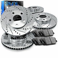 Brake Rotors Front+rear Kit Eline drilled And Slotted & Ceramic Pads Ra13058 on sale