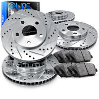 Brake Rotors Front+rear Kit Eline drilled And Slotted & Ceramic Pads Ra13058