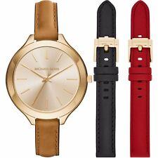 Women's Michael Kors Runway Interchangeable Leather Strap Watch ...