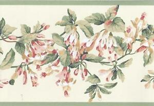 Wallpaper-Border-Traditional-Flower-Vine-Floral-Trail-Peach-Green-White-on-Cream