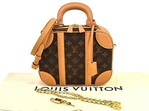 Louis-Vuitton-Monogram-Canvas-Valisette-PM-Handbag-Shoulder-Bag-Brown-98549b