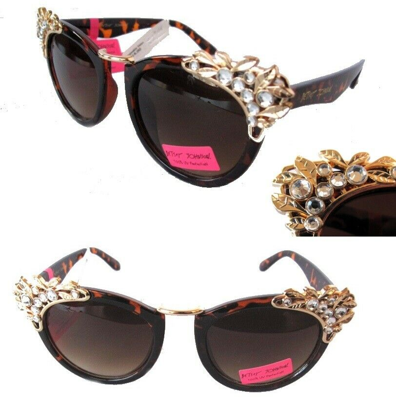 New Womens Sunglasses Betsey Johnson BJ49511 Tortoise Decorated -small defect