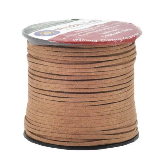 Clay Brown Mandala Crafts 100 Yards 2.65mm Wide Jewelry Making Flat Micro Fiber Lace Faux Suede Leather Cord
