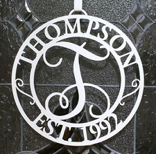 Metal Door or Wall Initial with Name and EST. Date - Monogram - Optional Hanger