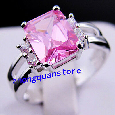 Jewelry CZ Ring Size 6 Pink Sapphire Women's 10KT White Gold Filled Wedding Gift