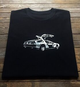 DMC-DeLorean-T-Shirt-Classic-Sports-Car-Back-to-the-Future-Time-Machine-Silver