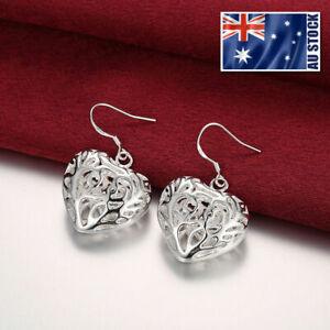 925-Sterling-Silver-Filled-Women-039-s-Filigree-Love-Heart-Dangle-Earrings-Stunning
