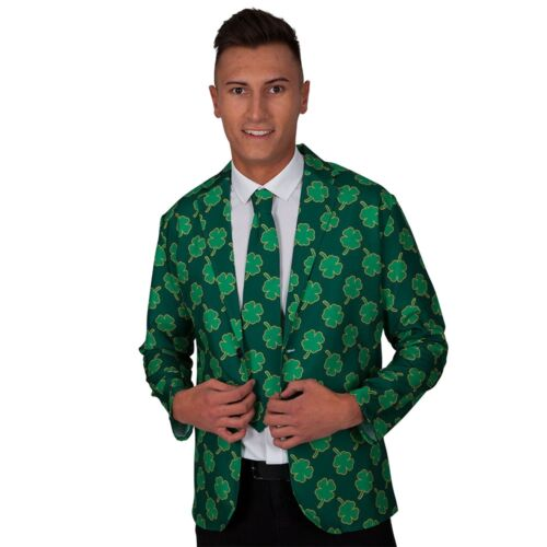 St Patricks Jacket Tie Irish Shamrock Halloween Adults Mens Fancy Dress Costume