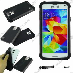 Coque Housse Etui Armor Anti Choc Gris Galaxy S5 Sm-g900f +mini Stylet +film