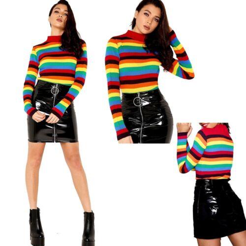 Women Rainbow stripe Rib Knitted Jumper Top Ladies LongSleeve Fashion Jumpers