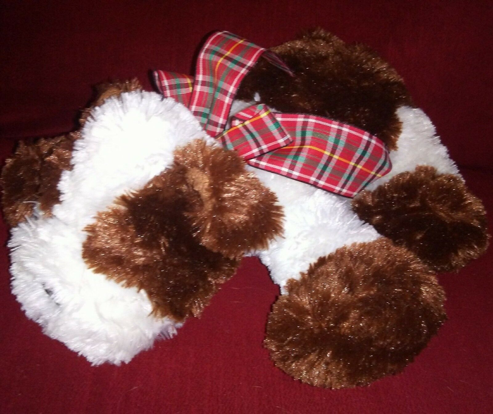 Target Animal Adventure Puppy Dog Brown Cream Soft Fur 12in Plush Plaid Bow 2004