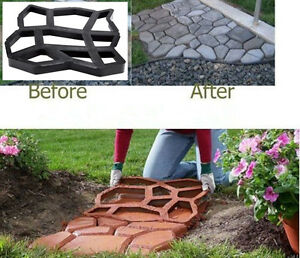 Image Is Loading Black Paving Mold Garden Patio Driveway Concrete Stepping