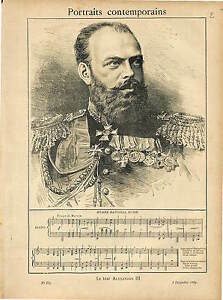TSAR-ALEXANDER-III-RUSSIE-RUSSIA-National-ANTHEM-1889-GRAVURE-ANTIQUE-PRINT