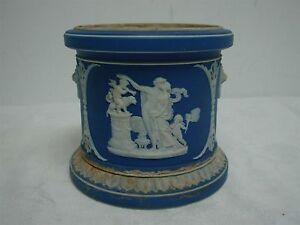 ANTIQUE-WEDGWOOD-w-INITIALS-DARK-BLUE-JASPERWARE-JAR