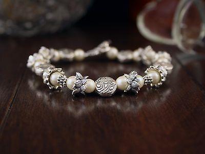 Burgundy Czech seed beads bracelet for teen girls pink and purple tones Lotus Flower Locket